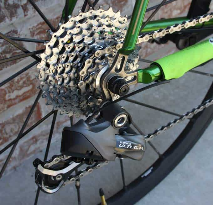 A Cluster of 9 Cassette Sprockets on a Rear Wheel
