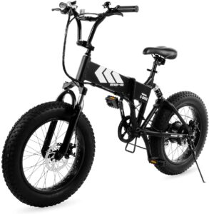 Swagtron EB-8 Outlaw Fat Tire Electric Bike - Foldable Off-Road Fat eBike 20-inch Wheels with Power Assist